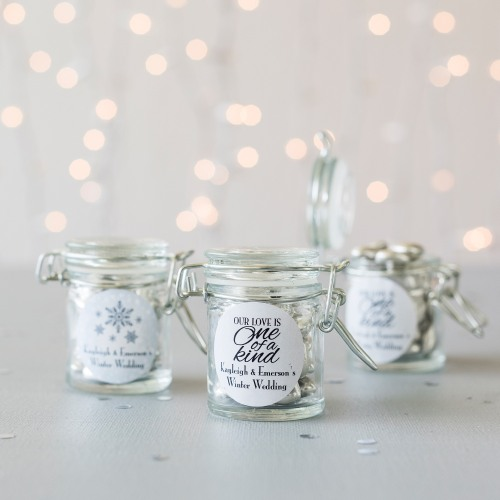 Personalized Winter Themed Glass Favor Jars