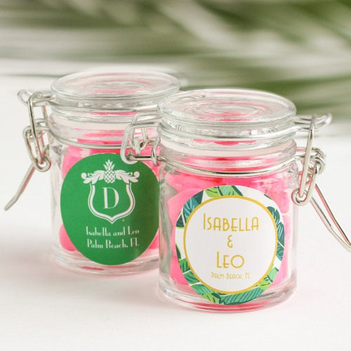 Personalized Tropical Glass Favor Jars