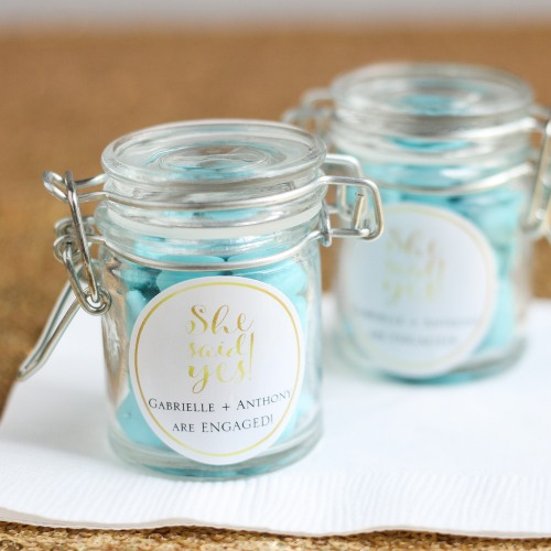 Personalized She Said Yes Glass Favor Jars