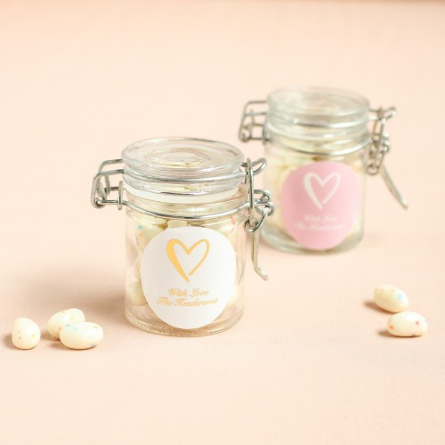 Personalized Heart Glass Favor Jars
