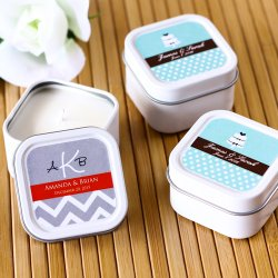 Mini Square Personalized Candle Wedding Favors