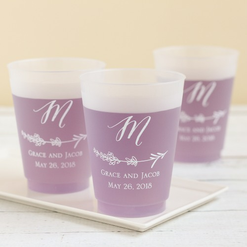 Personalized Lavender Frosted Plastic Cups