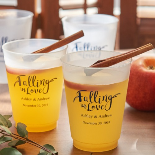 Personalized Frosted Plastic Cups - Falling In Love