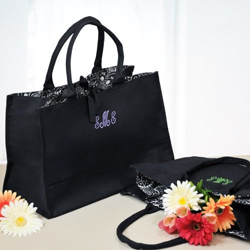 Monogram Damask Lined Tote Bags