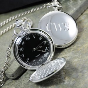 Engraved Silver Plated Pocket Watch