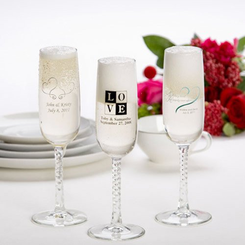 Your guests will love these personalized champagne flute wedding favors. Each flute favor features a braided stem and can be personalized with your choice of im