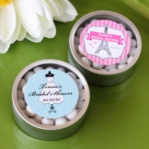 Personalized Round Clear Topped Candy Tins