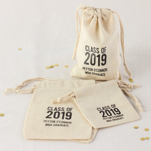 Personalized Grad Year Cotton Bags