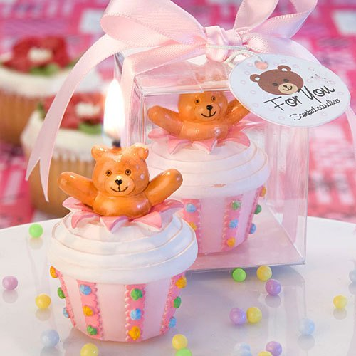 Pink Teddy Bear  Cupcake Candle
