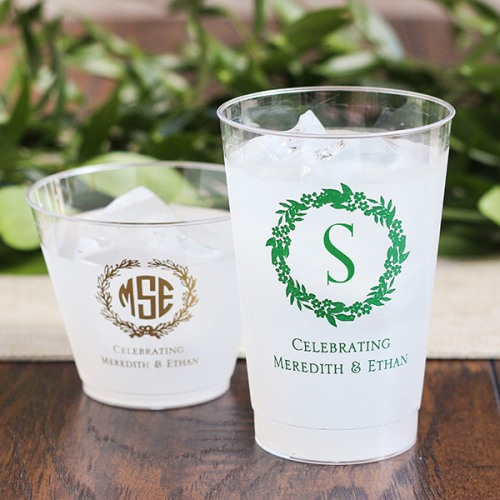 Personalized Inital Wreath Clear Plastic Cups