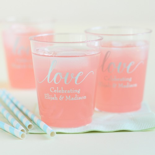 Personalized Love Clear Plastic Cups