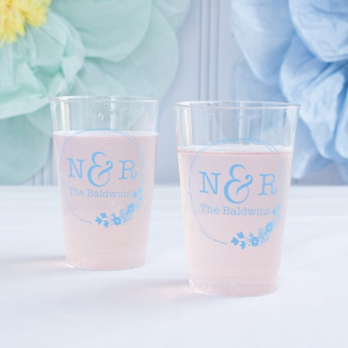 Personalized Botanical Monogram Clear Plastic Cups