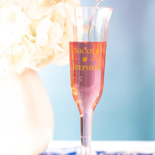 Personalized Citrus Garden Plastic Champagne Flutes