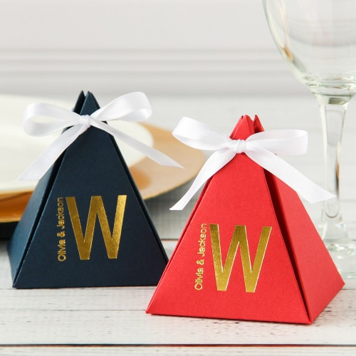 Personalized Monogram Pyramid Favor Boxes