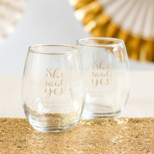Personalized 9 oz. She Said Yes Stemless Wine Glass