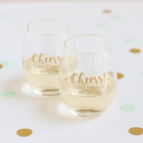 Personalized Cheers 9oz Stemless Wine Glasses