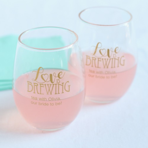 Personalized 9 oz. Love is Brewing Stemless Wine Glass