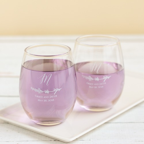 Personalized 9 oz. Lavender Sprig Stemless Wine Glass