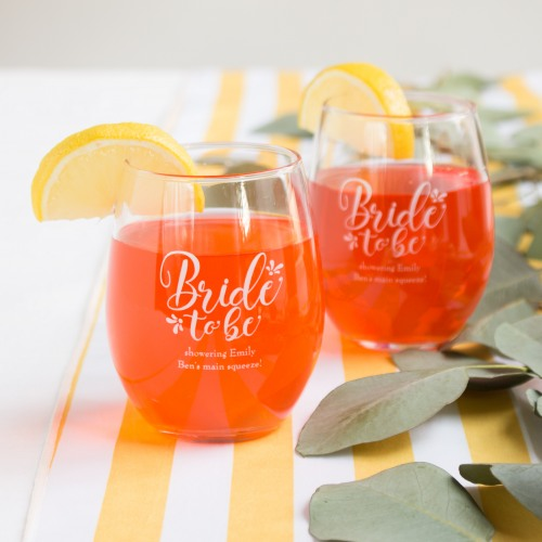 Personalized Bride to Be Stemless Wine Glass