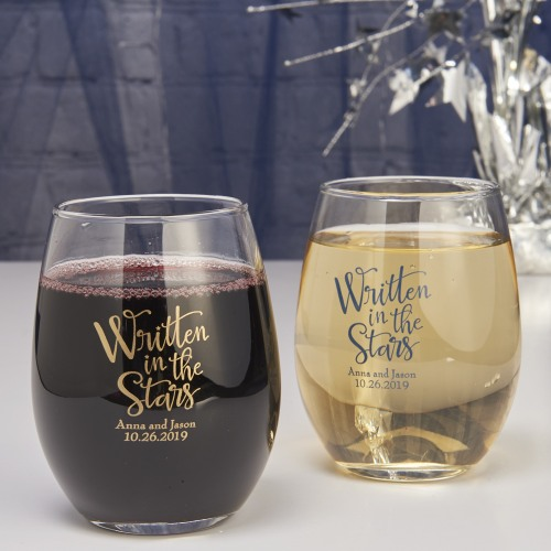 Personalized 9 oz. Written In The Stars Stemless Wine Glass