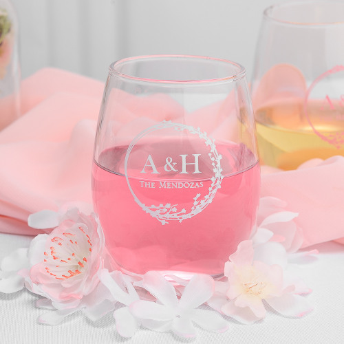 Personalized Cherry Blossom 9 oz. Stemless Wine Glass