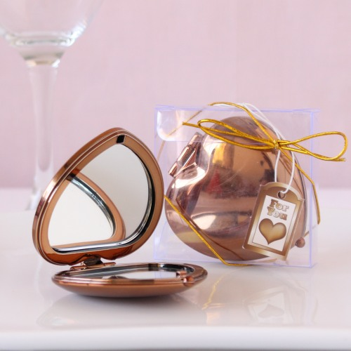 Bronze Heart Shaped Compact Mirror