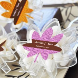 Personalized Fall Leaf Acrylic Favor Box