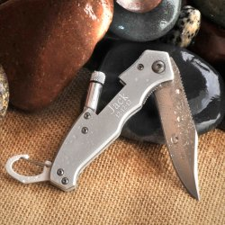 Engraved Pocket Knife with Flashlight