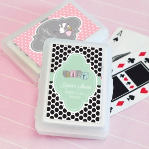 Baby Shower Playing Cards with Personalized Labels