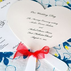 Heart Shaped Wedding Program Fans