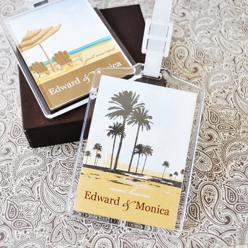 Personalized Acrylic Luggage Tag Wedding Favors