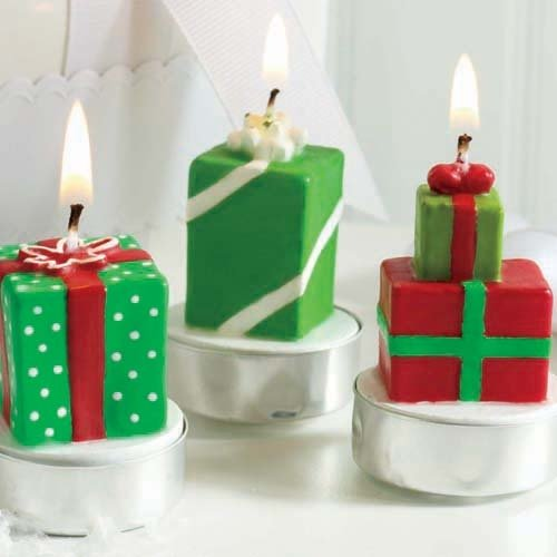 Mini Whimsical Holiday Present Tea Light Candles