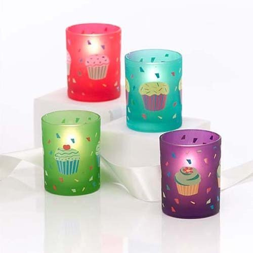 Cupcake Frosted Glass Votives