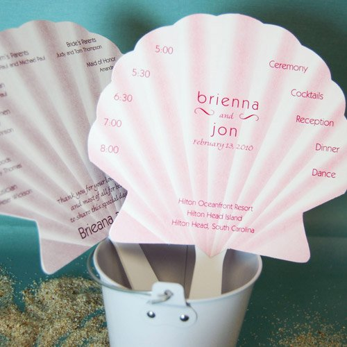 Seashell Wedding Program Fans