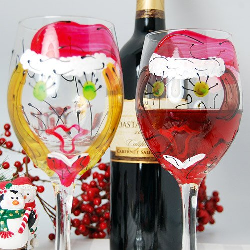 Custom Hand Painted Santa Girl Wine Glasses