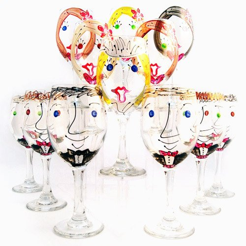 Custom Hand Painted Bridal Party Wine Glass