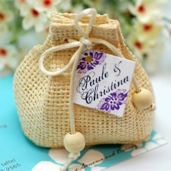 Mini Natural Woven Drawstring Sacks