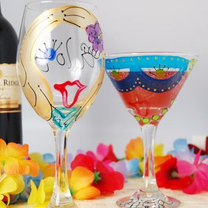 Custom Hand Painted Party Girl Stemware