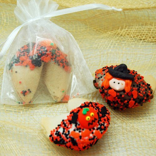 halloween dipped fortune cookies