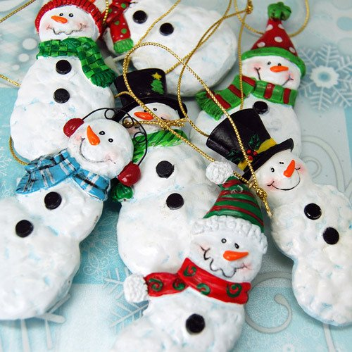 Mini Ceramic Snowman Ornaments