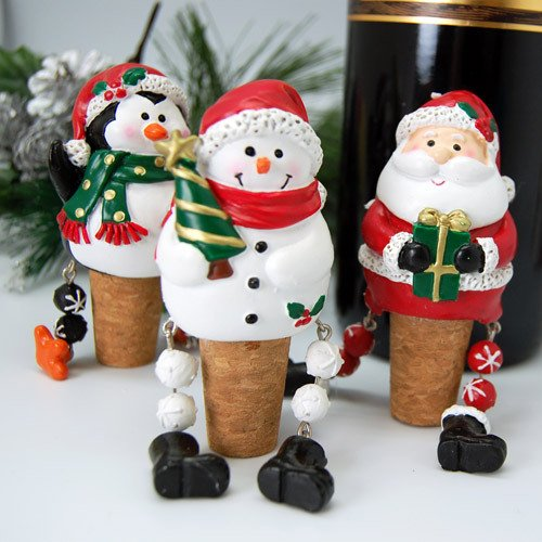 Whimsical Dangling Christmas Wine Stoppers