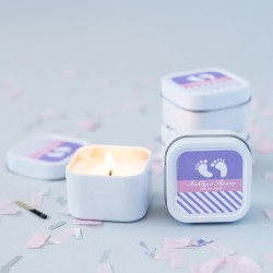 Mini Square Personalized Baby Shower Candle Favor