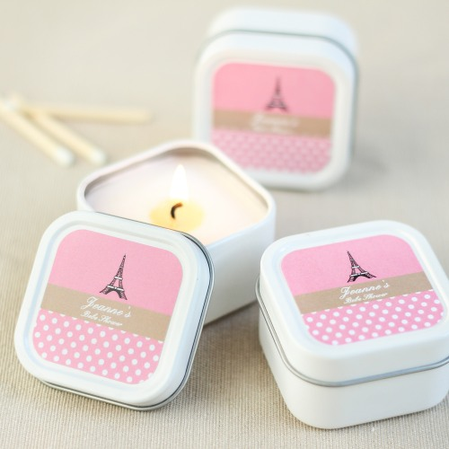 Personalized Paris Themed Baby Shower Candle Favors