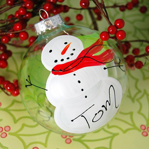 Personalized Hand Painted Snowman Glass Ornament