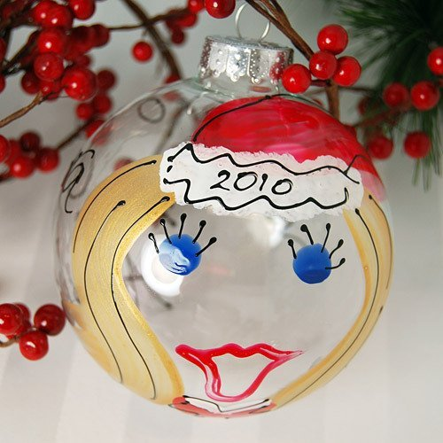 Personalized Hand Painted Santa Girl Glass Ornament