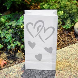 Silver Hearts Paper Luminaries