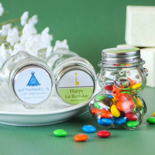 Personalized First Birthday Teddy Bear Candy Jars