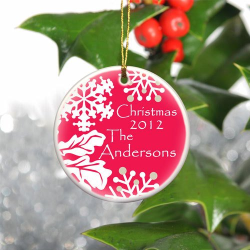 Personalized Wintry Christmas Ceramic Ornament