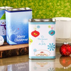 Personalized Holiday Hot Chocolate Mix in Gift Tin