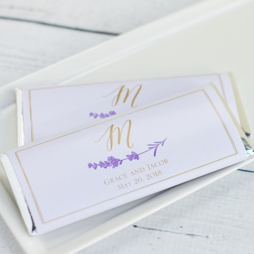 Personalized Lavender Sprig Chocolate Bars